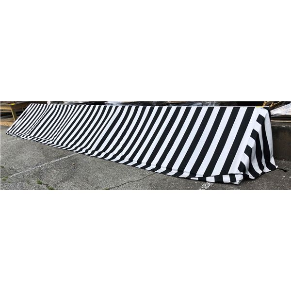 Approx. 24ft. across x 3 1/2ft. deep Black & White Awning