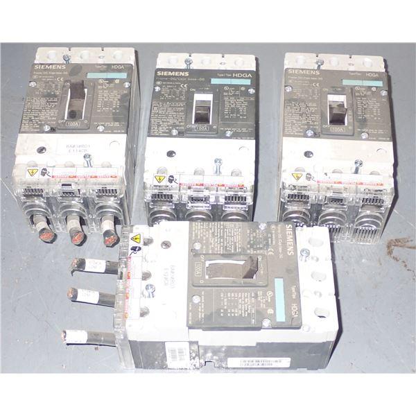 Lot of (4) Siemens #HDX3B100 Circuit Breakers
