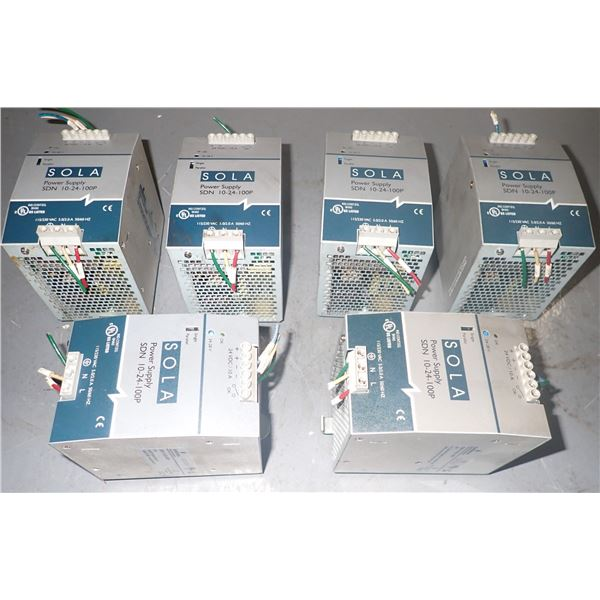Lot of (6) Sola #SDN 10-24-100P Power Supplies