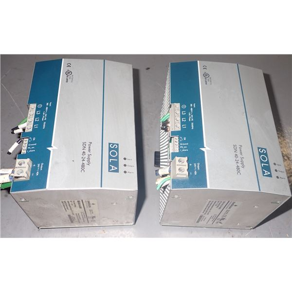 Lot of (2) Sola #SDN 40-24-480C Power Supplies