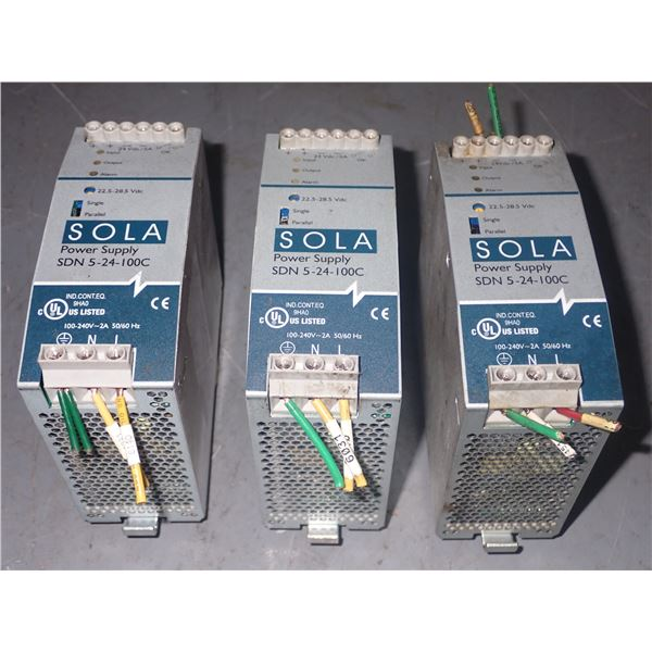 Lot of (3) Sola #SDN 5-24-100C Power Supplies
