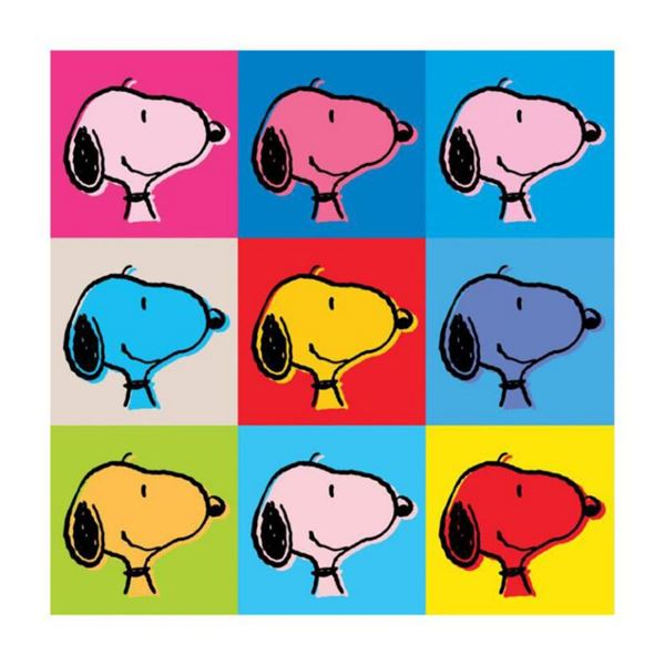 """Peanuts, """"Snoopy Warhol Face"""" Hand Numbered Canvas (40""""x40"""") Limited Edition Fine Art Print with Cer"""