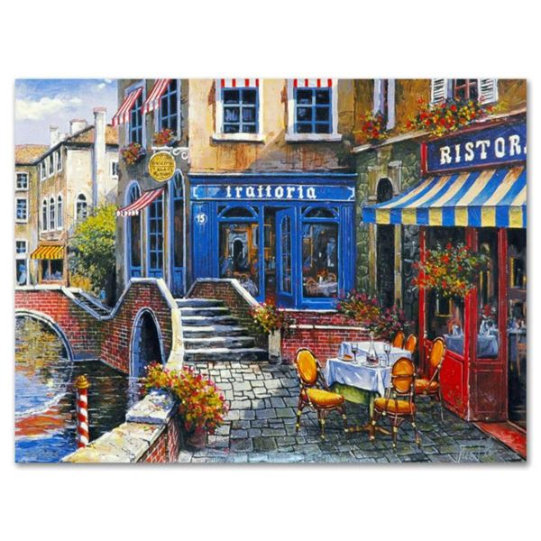 """Anatoly Metlan, """"Outdoor Cafe"""" Limited Edition Lithograph, Numbered and Hand Signed with Certificate"""