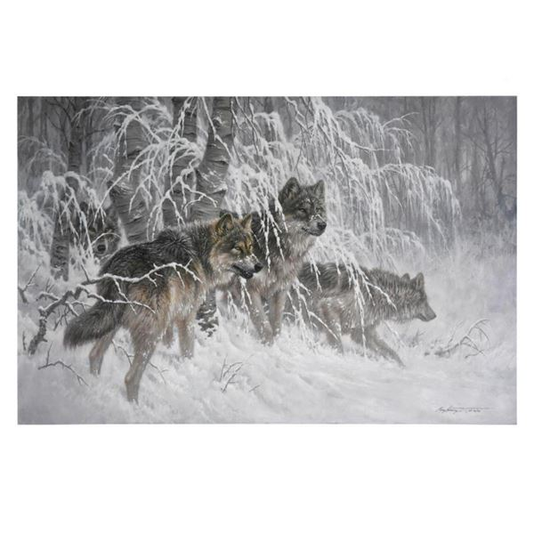 """Larry Fanning (1938-2014), """"Edge of Winter (Gray Wolves)"""" Limited Edition on Canvas, AP Numbered and"""