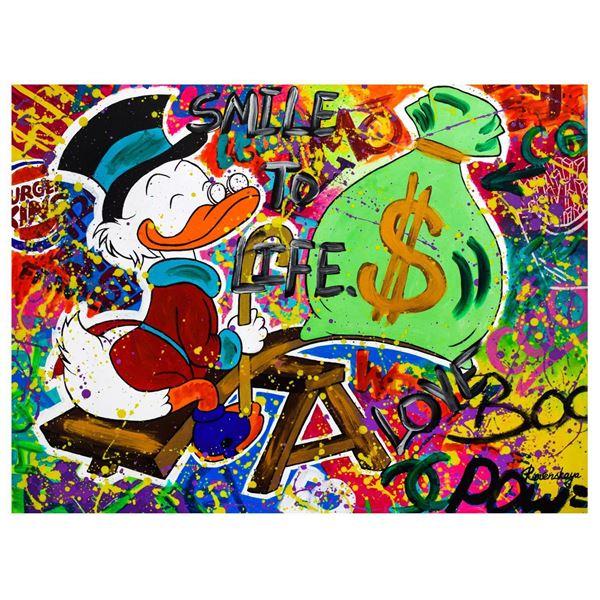 "Nastya Rovenskaya- Mixed Media ""Playing with Money"""