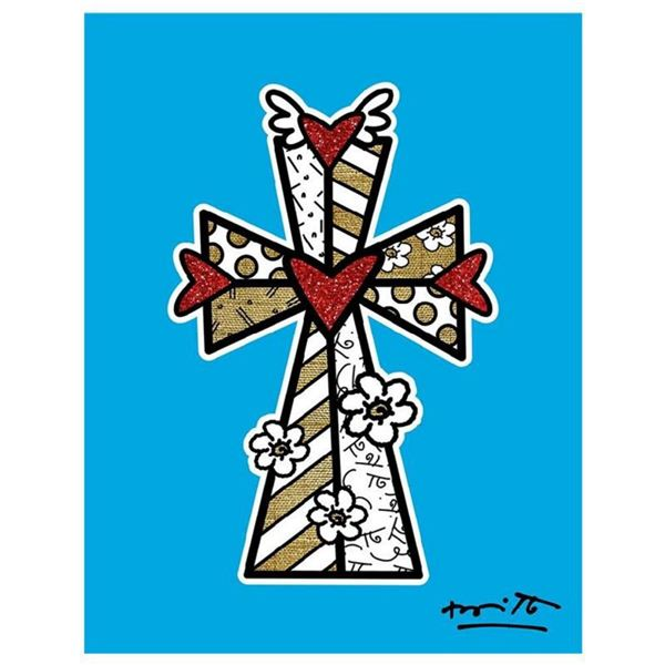 """Britto, """"Blessings (Blue)"""" Hand Signed Limited Edition Giclee on Canvas; Authenticated."""