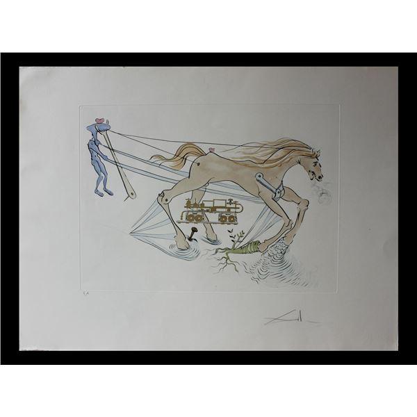 """Salvador Dali- Original Engravings with color by pochoir """"Hydraulic brake"""""""