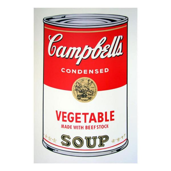 """Andy Warhol """"Soup can 11.48 (Vegetable w/ Beef Stock)"""" Silk Screen Print from Sunday B Morning."""