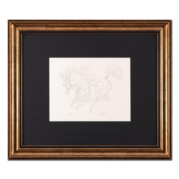 """Guillaume Azoulay, """"Sketch AZA"""" Framed Original Drawing, Hand Signed with Letter of Authenticity."""