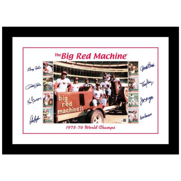 """""""Big Red Machine Tractor"""" Framed Lithograph Signed by the Big Red Machine's Starting Eight, with Cer"""