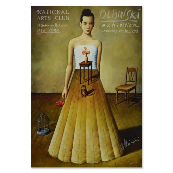 """Rafal Olbinski, """"National Arts Club"""" Hand signed Offset Lithograph with Letter of Authenticity."""