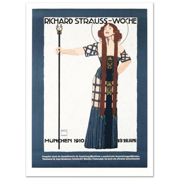 """RE Society, """"Richard Strauss"""" Hand Pulled Lithograph, Image Originally by Ludwig Hohlwein. Includes"""