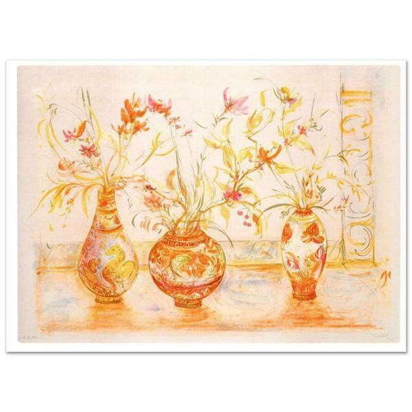"""""""Chinese Vase"""" Limited Edition Lithograph (42"""" x 29.5"""") by Edna Hibel, Numbered and Hand Signed with"""