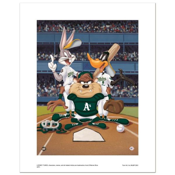 """""""At the Plate (Athletics)"""" Numbered Limited Edition Giclee from Warner Bros. with Certificate of Aut"""