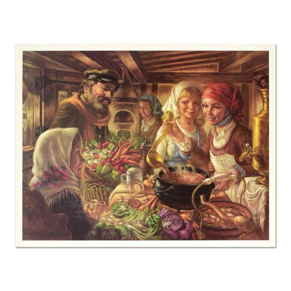 """Virginia Dan (1922-2014), """"Making of the Cholent"""" Limited Edition Lithograph, Numbered and Hand Sign"""