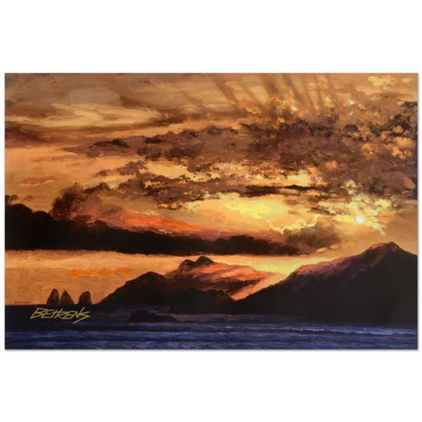 """Howard Behrens (1933-2014), """"Sunset Over Capri"""" Limited Edition Hand Embellished Giclee on Canvas, N"""