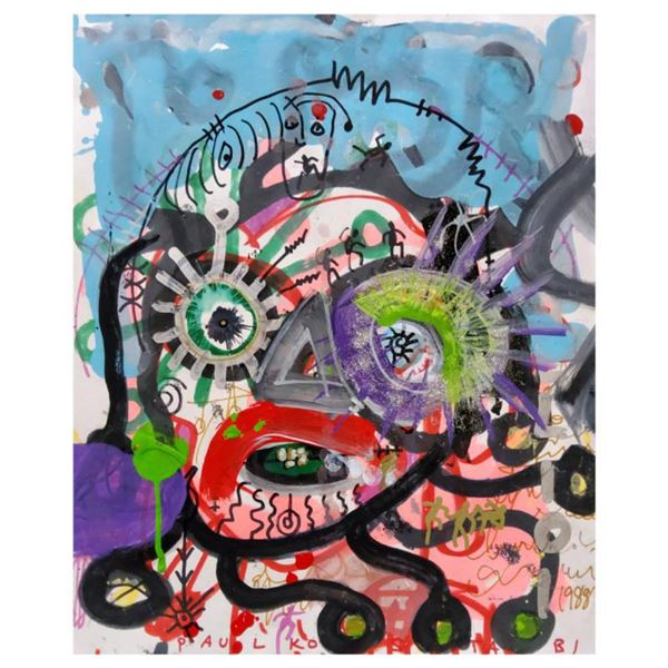 """Paul Kostabi, """"Phases and Stages"""" Hand Signed Original Painting with Letter of Authenticity."""
