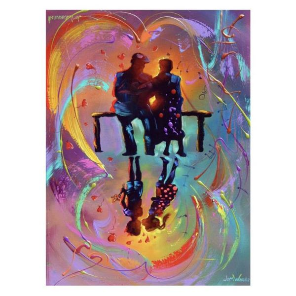"""Jim Warren, """"The First Kiss"""" Hand Signed, Artist Embellished AP Limited Edition Giclee on Canvas wit"""