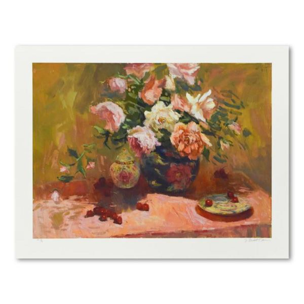 """S. Burkett Kaiser, """"Roses in Blue Vase"""" Limited Edition, Numbered and Hand Signed with Letter of Aut"""
