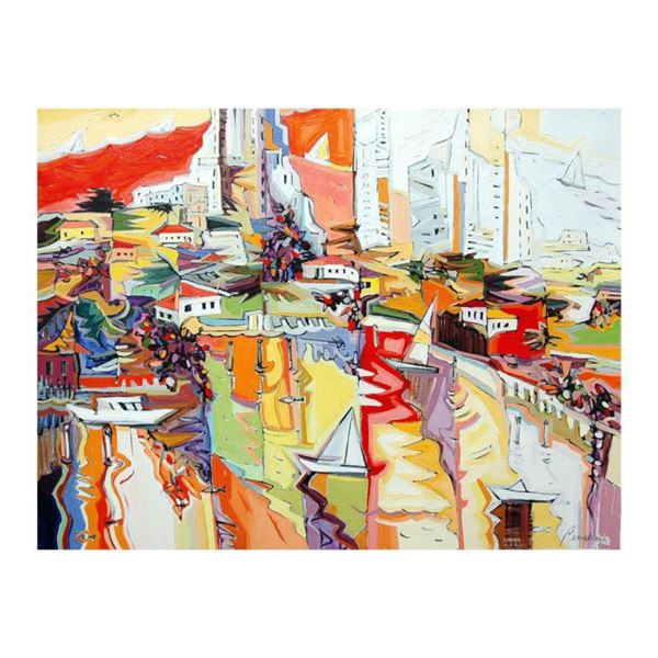 """Natalie Rozenbaum, """"Marina Reflections"""" Limited Edition on Canvas, Numbered and Hand Signed with Let"""