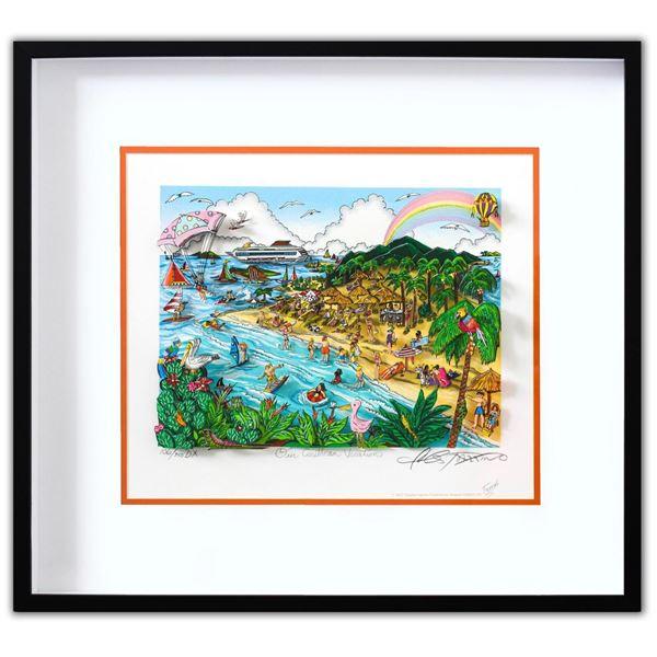 "Charles Fazzino- 3D Construction Silkscreen Serigraph ""Our Caribbean Vacation"""