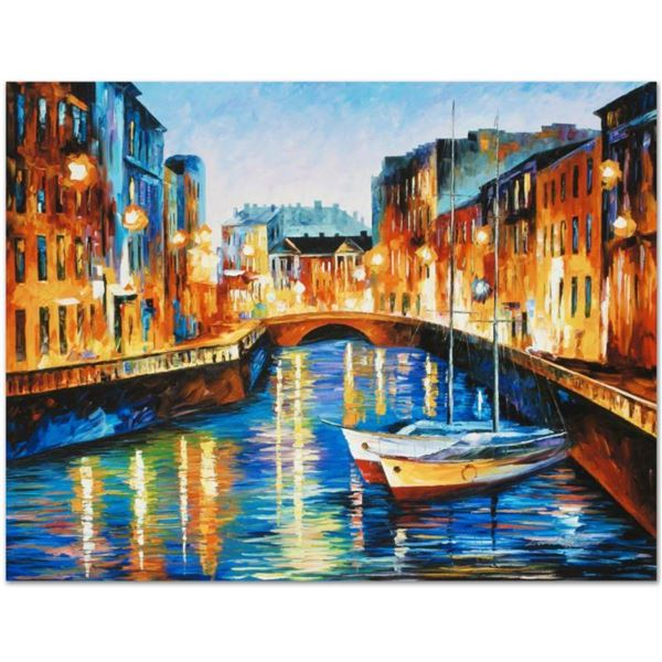 """Leonid Afremov (1955-2019) """"Evening River"""" Limited Edition Giclee on Canvas, Numbered and Signed. Th"""
