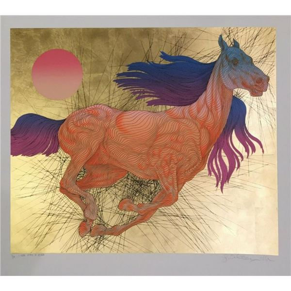 """Guillaume Azoulay- Serigraph on paper with hand laid gold leaf """"VITESSE"""""""