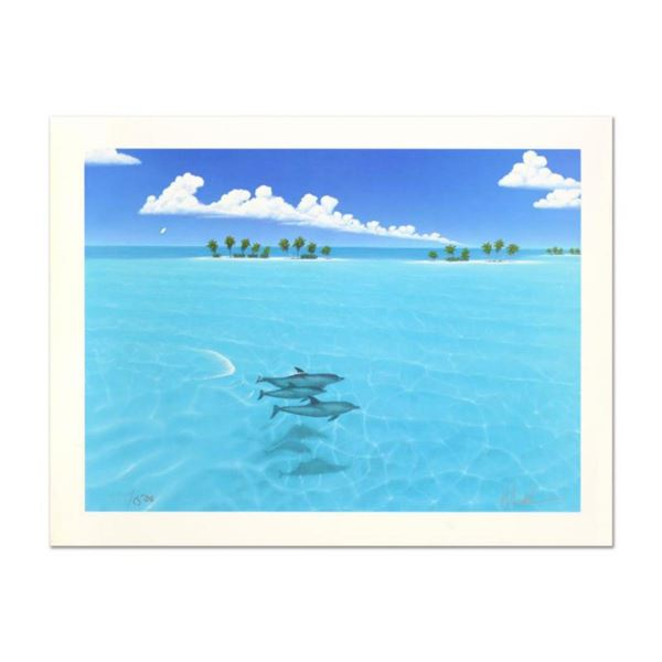 """Dan Mackin, """"Dolphin Trio"""" Hand Signed Lithograph from a Sold Out Limited Edition, Numbered and Hand"""