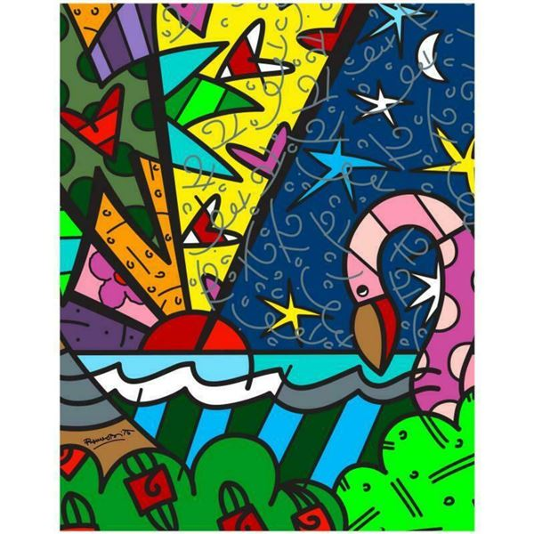 """Romero Britto """"Real"""" Hand Signed Limited Edition Giclee on Canvas; Authenticated"""