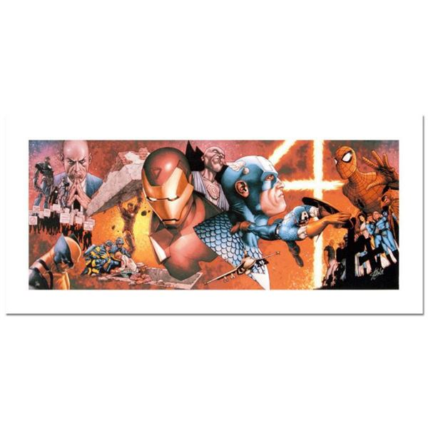 """Stan Lee Signed, """"Civil War #1"""" Numbered Marvel Comics Limited Edition Canvas by Steve McNiven with"""