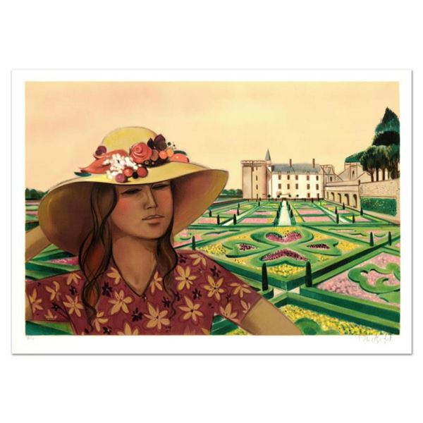 """Robert Vernet Bonfort, """"Chateau and Gardens"""" Limited Edition Lithograph, Numbered and Hand Signed."""