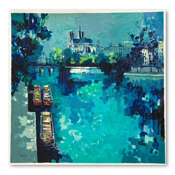 """Claude Fauchere, """"Notre Dame"""" Hand Signed Limited Edition Serigraph on Paper with Letter of Authenti"""