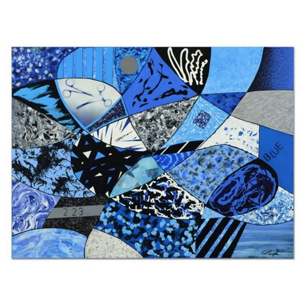 """Tom Pergola, """"Black, Blue and White"""" Original Acrylic Painting on Gallery Wrapped Canvas, Hand Signe"""