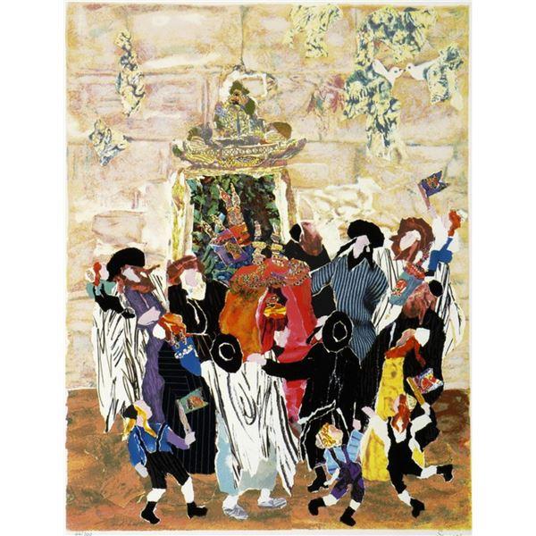 "Judith Yellin- Original Serigraph ""Simha Torah at the Wall II"""