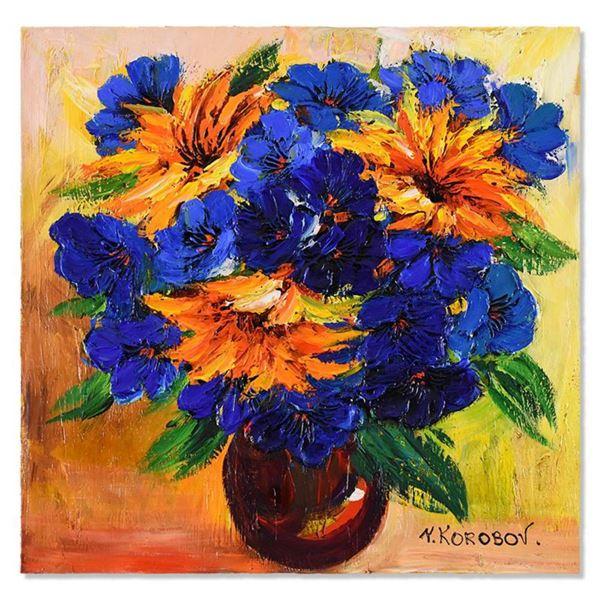 "Yana Korobov, ""Secret Conversation"" Original Acrylic Painting on Canvas, Hand Signed with Letter Aut"