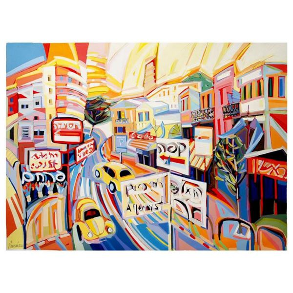 """Natalie Rozenbaum, """"Allenby Scene"""" Limited Edition on Canvas, Numbered and Hand Signed with Letter o"""