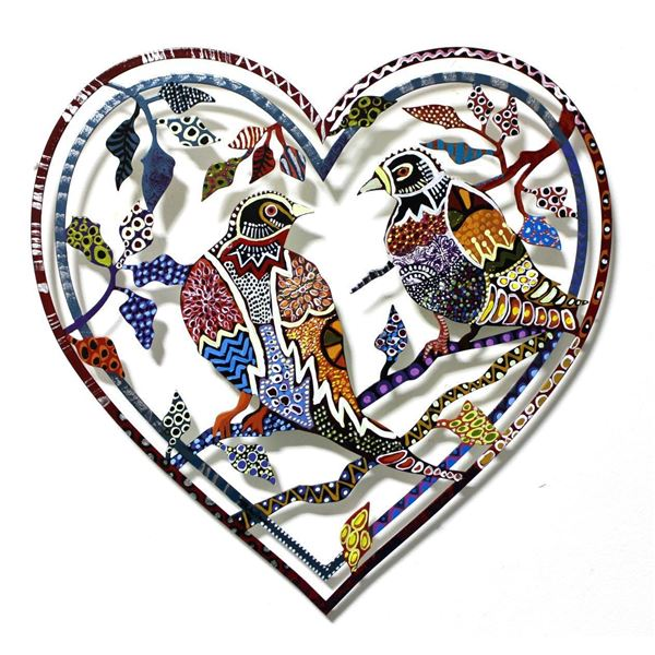 "Patricia Govezensky- Original Painting on Laser Cut Steel ""Love Birds VI"""