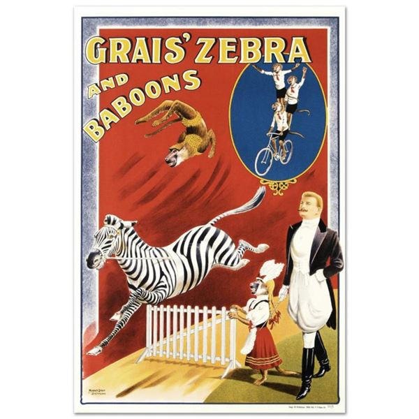 """RE Society, """"Grais Zebra and Baboons"""" Hand Pulled Lithograph, Image Originally by Albert Whitfield."""