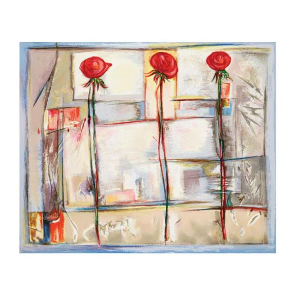 """Lenner Gogli, """"Rose Collage"""" Limited Edition Serigraph, Numbered and Hand Signed with Letter of Auth"""