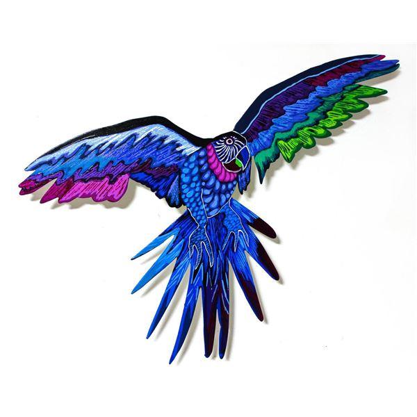 "Patricia Govezensky- Original Painting on Laser Cut Steel ""Macaw XXIII"""