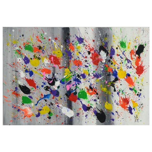 """George Marlowe, """"Splat"""" Hand Signed Original Acrylic Painting on Canvas with Certificate of Authenti"""