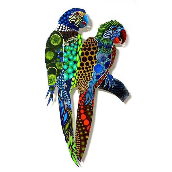 "Patricia Govezensky- Original Painting on Laser Cut Steel ""Two Parrots XXV"""