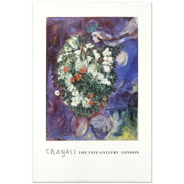 """Marc Chagall (1887-1985), """"Bouquet with Flying Lover"""" Fine Art Poster."""
