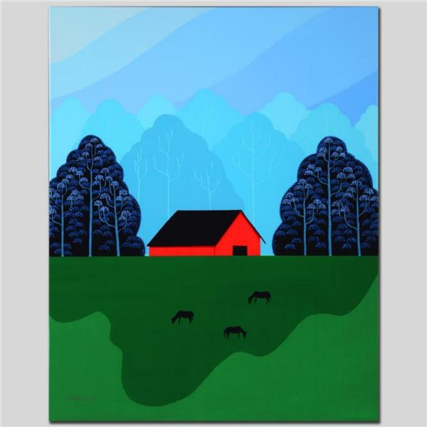"""""""New England Barn"""" Limited Edition Giclee on Canvas by Larissa Holt, Numbered and Signed. This piece"""