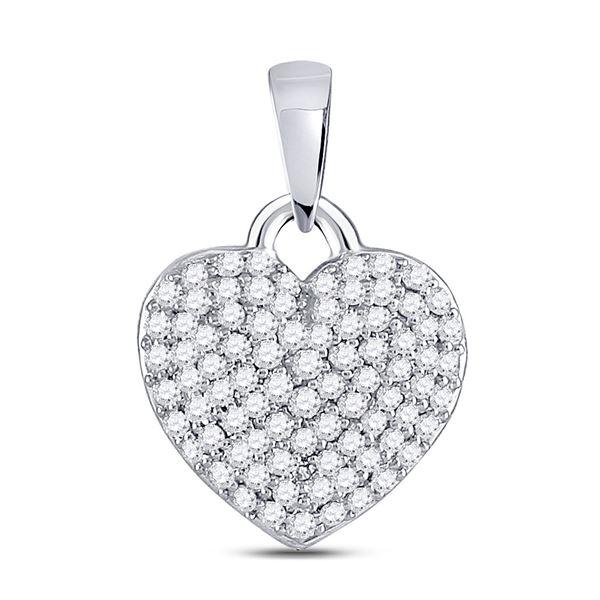 Round Diamond Fashion Heart Pendant 3/8 Cttw 10KT White Gold