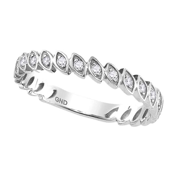 Round Diamond Marquise Shape Stackable Band Ring 1/10 Cttw 10KT White Gold