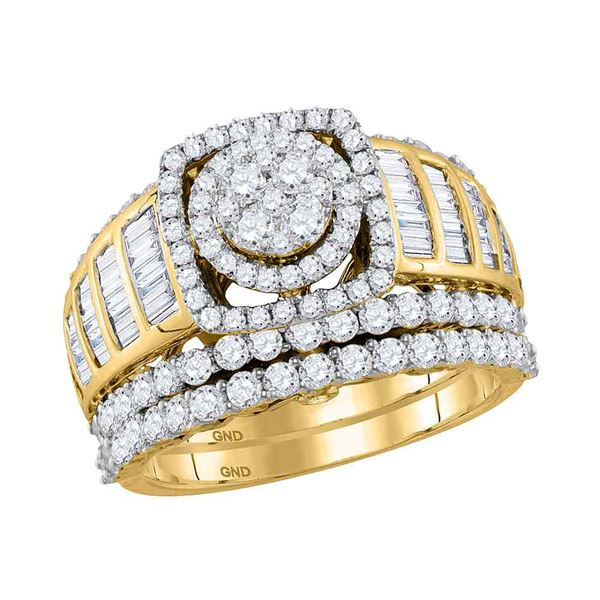 Diamond Bridal Wedding Ring Band Set 2-1/2 Cttw 14KT Yellow Gold