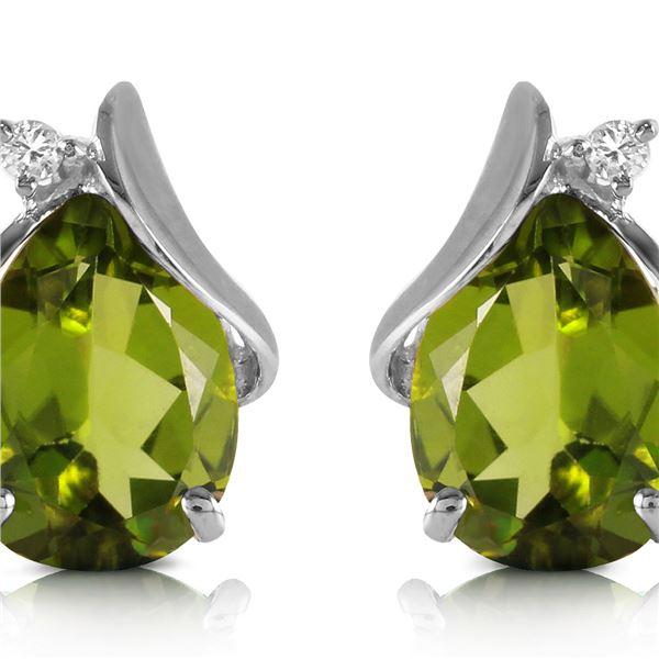 Genuine 4.26 ctw Peridot & Diamond Earrings 14KT White Gold - REF-46T2A