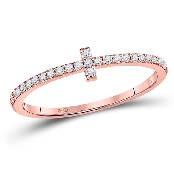 Round Diamond Cross Stackable Band Ring 1/6 Cttw 10KT Rose Gold