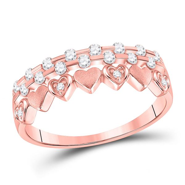 Round Diamond Heart Band Ring 1/4 Cttw 10KT Rose Gold